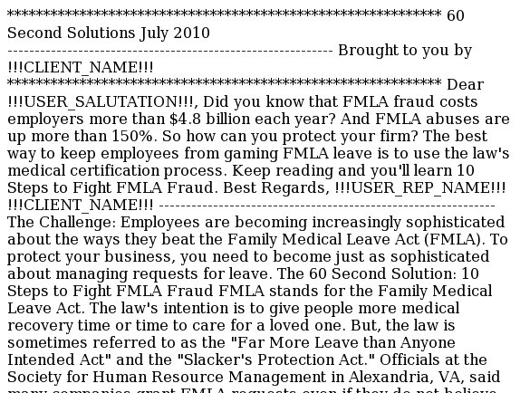 60 Second Solutions: 10 Steps to Beat FMLA Fraud